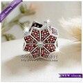 2016 Inverno New Mulheres jóias Charme Folha de Bordo Vermelho Limpar CZ Bead S925 Sterling Silver Fit Pulseiras Europeus Colares UT21-55