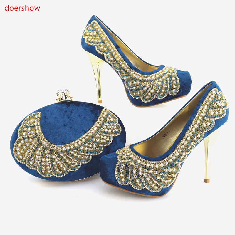 doershow Women Shoes and Bag Set In Italy Shoe and Bag Set Matching Shoes and Bag Set for African Party Italian ladyshoe  NJ1-15 african shoes and matching bags italian shoes and bag set women pumps italy ladies shoes and bag set doershow hlu1 51