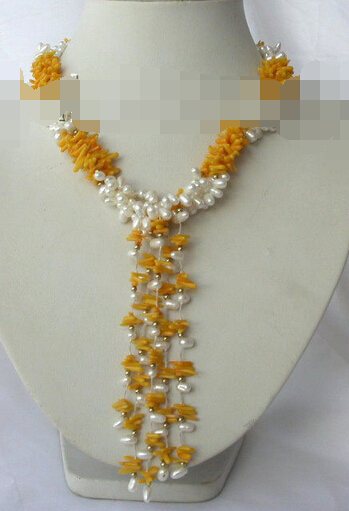 5a0309ce44de Envío libre ddh002682 3 strands 7mm barroco blanco de agua dulce perla  collar de coral rama