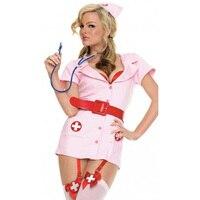 Atacado 3 Peças Enfermeira Impertinente Do Traje Rosa Adulto Traje de Halloween Para As Mulheres Sexy Fantasia Enfermeira Roupas de Manga Curta W2939