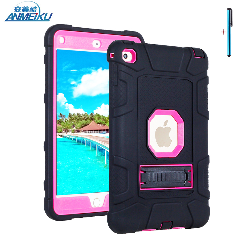 Case For iPad mini 4 Shockproof Heavy Duty Armor Kids Baby Safe Silicone PC Hard Protective Tablet Case Cover For iPad mini case mini 4 heavy duty shockproof case hybrid silicone plastic back cover for ipad mini 4 tablet stand cover 7 9 for ipad mini 4