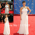 Free shipping kim kardashian red carpet show white halter pleated beaded chiffon long celebrity dress CD018