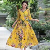 Women Vintage Floral Print V Neck High Waist Dresses Vestidos Loose Half Sleeve Cotton Linen Summer Dress