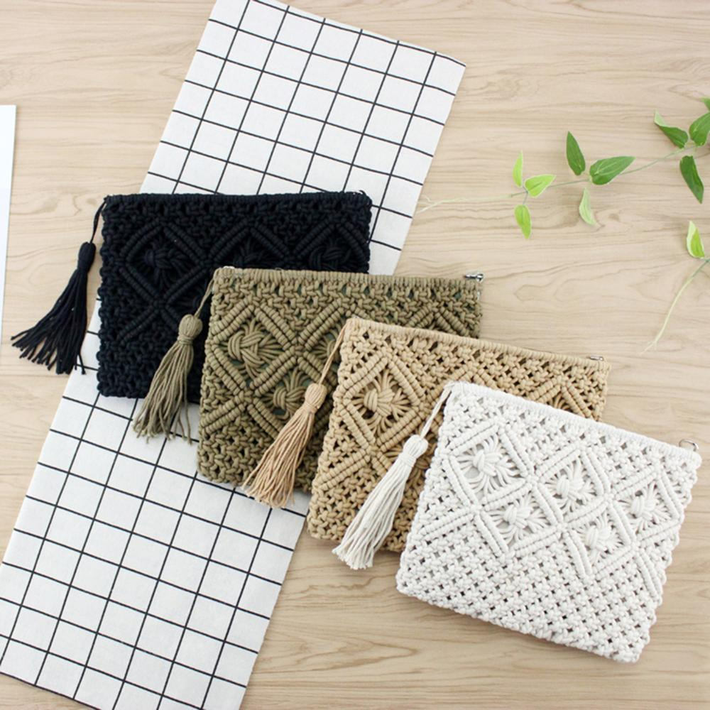 Woman High Quality Beach Bag Straw Clutch Elegant Female Braided Handbag Women Day Tassels Summer Knitted Envelope Hasp Bag(China)