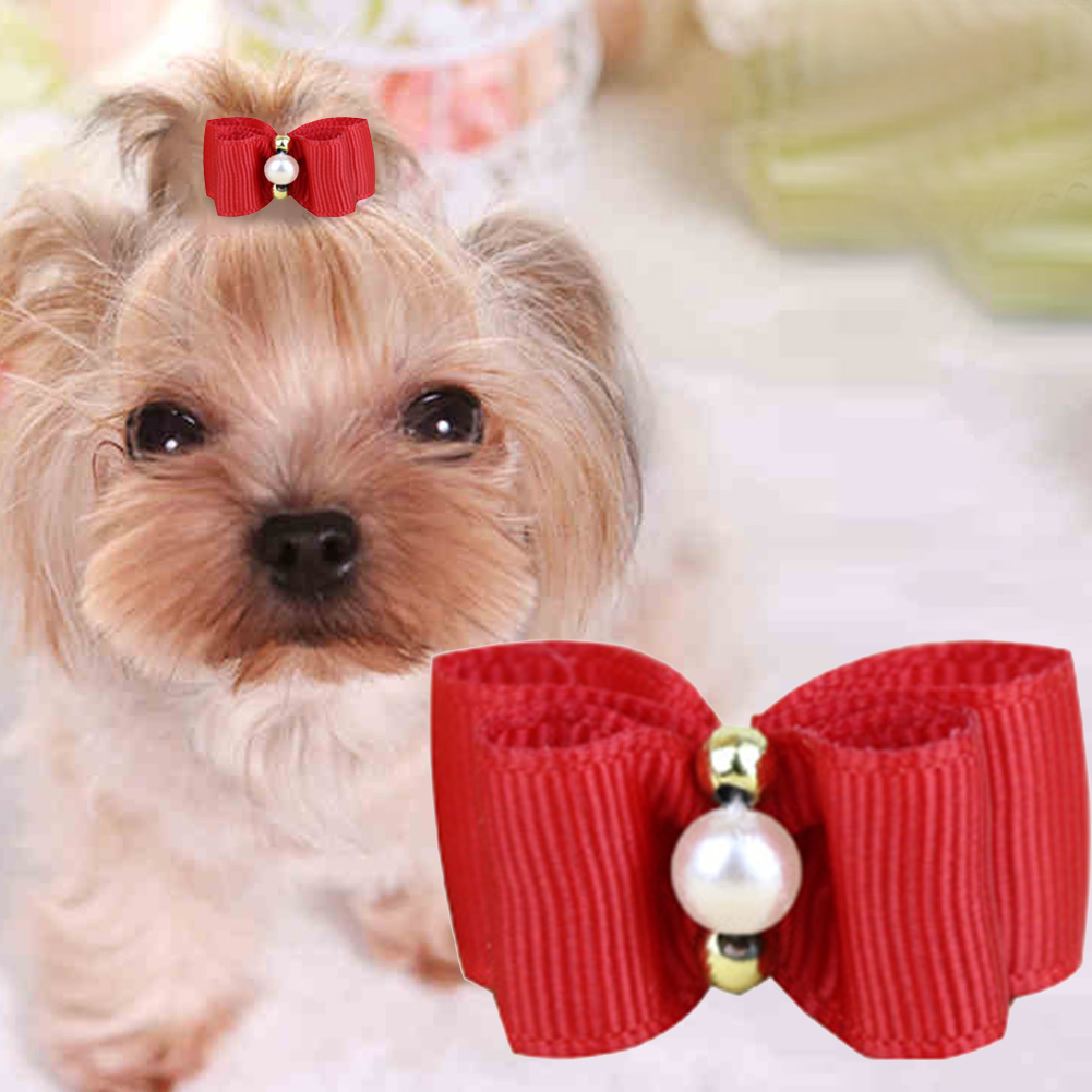 NEW ARRIVAL 10pcs Mixed Colors Dog Hair Bows Dog Grooming For Dog Pet Puppy Cat Bowknot Puppy Rubber Band