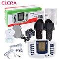 ELERA Elétrica Estimulador Muscular Massageador Dezenas Acupuntura Terapia Máquina de Emagrecimento Massageador Corporal 4 pcs pads & Chinelos