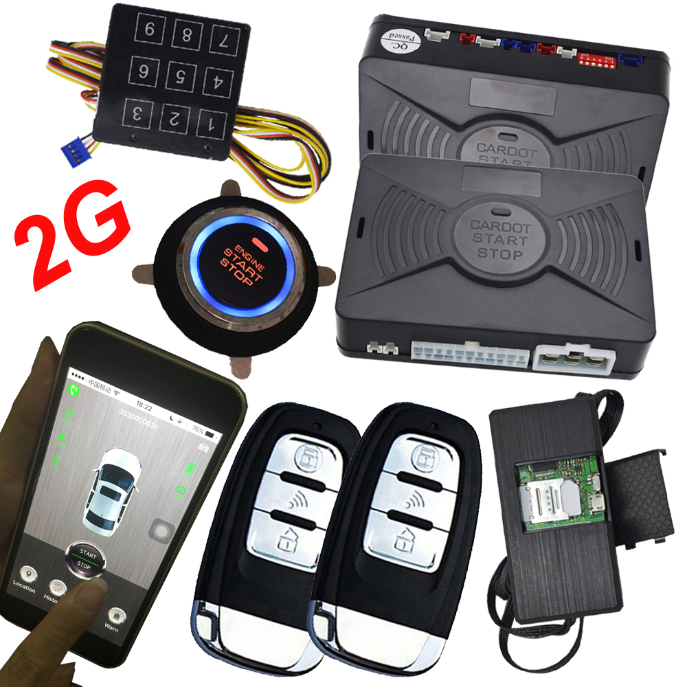 Smart phone passwords alarm security system car auto engine ignition start stop button cardot brand