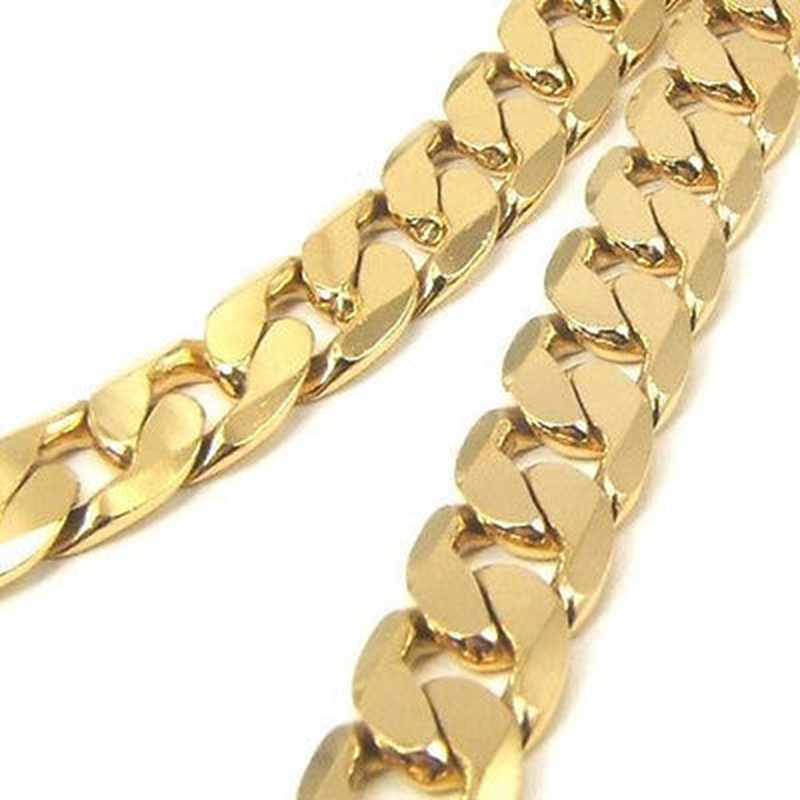 Curb Chain Link Solid 24ct Yellow Gold Filled Mens Necklace Chain 23.6 ""