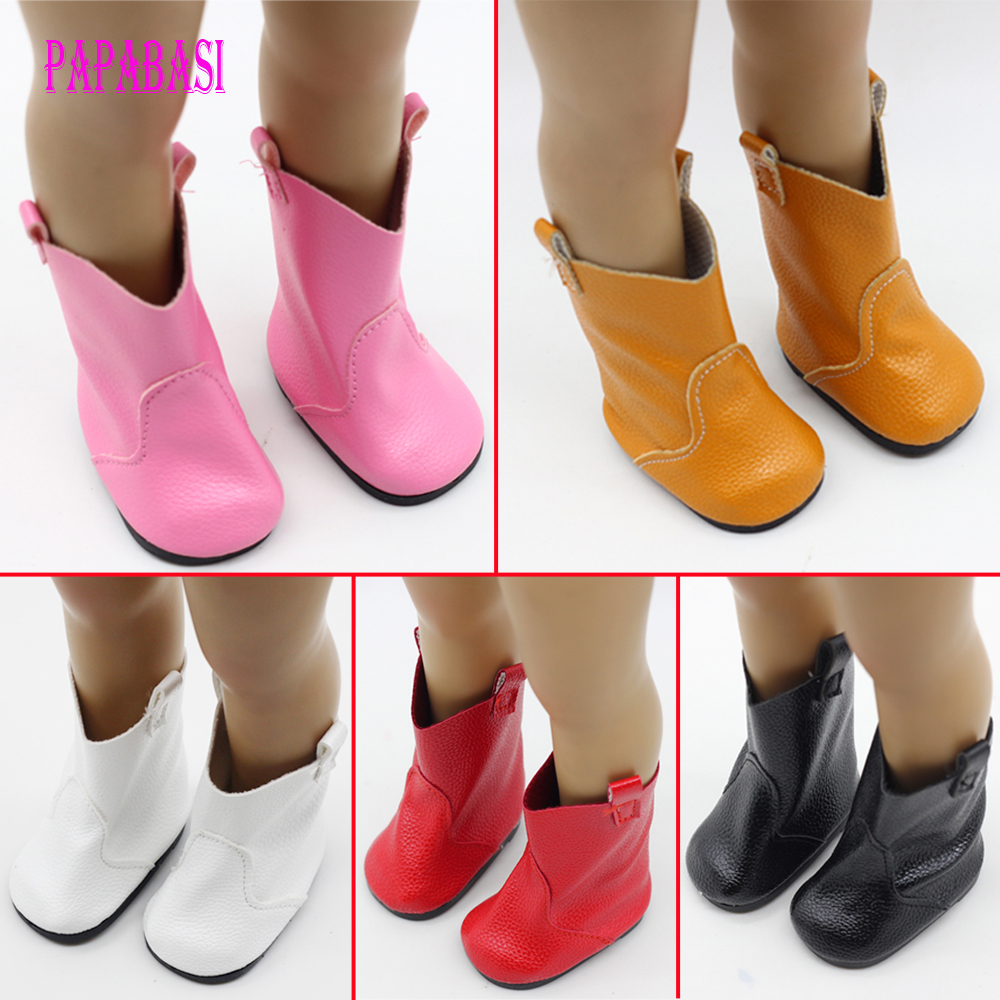 BowUniversal Pink Red shiny Boots Shoes for American Girl 18 Doll Clothing Accessories Collectible Dolls Lover Girls Kids Gift hot sale doll shoes for 18 american girl doll clothes vintage boots popular dolls accessories juguetes brinquedos