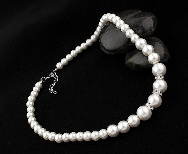 Moda clásica imitación perla enchapado en plata cristal transparente Top elegante regalo de fiesta moda disfraz conjuntos de joyas de perlas N85 4
