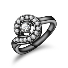 Black gold color zircon ring women fashion charm jewelry Top luxury brand Christmas gifts anel feminino