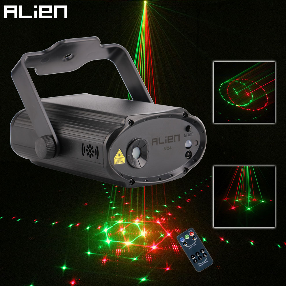 ALIEN Mini Remote RG 24 Patterns Stage Disco Laser Light Projector DJ Dance Party Holiday Bar Club Christmas Lighting Effect rg mini 3 lens 24 patterns led laser projector stage lighting effect christmas xmas remote 3w blue for dj disco party club