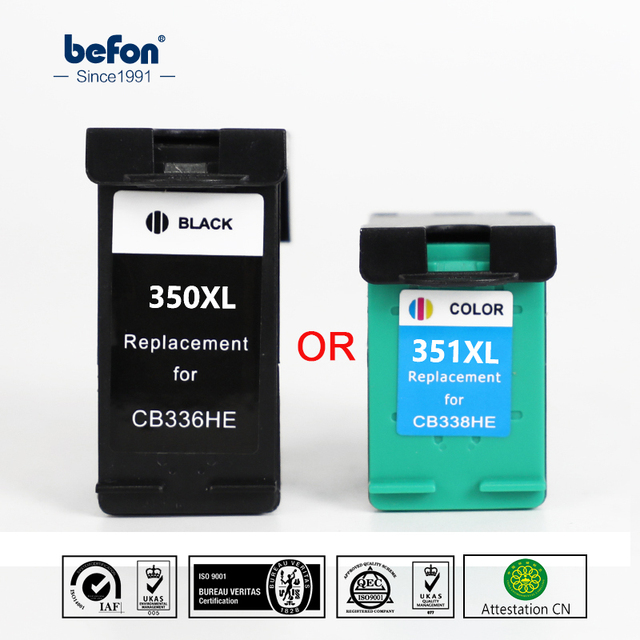 befon 350XL 351XL Cartridge Replacement for HP 350 351 HP350 HP3510 Black Color Ink Cartridge Deskjet D4260 4260 D4360 C4200