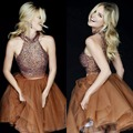 New Fashion Beaded Keyhole Homecoming Dresses Sexy Mini Brown Orangza Crystal Bodice Short Prom Dress Party Cocktail Dresses