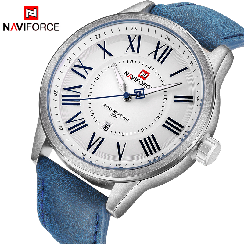 Naviforce Top Luxury Brand Men Leather Strap Sports Watches Men's Quartz Date Clock Man Waterproof Wrist Watch Relogio Masculino