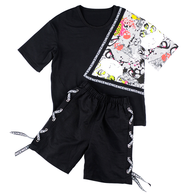 2017 new summer style fashion loose boys t-shirt with hip hop dance harem pants boy sport clothes suits Kids clothing set Black