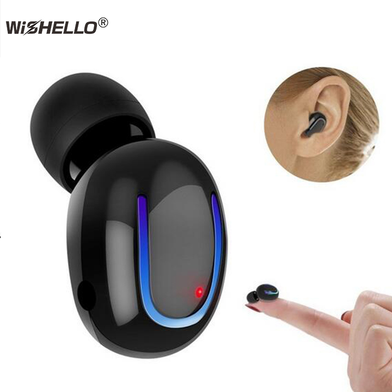 WiSHELLO Bluetooth Earbud Wireless Headset Mini Car Earphone Hands Free Call Invisible In-Ear Microphone for Smartphones Android