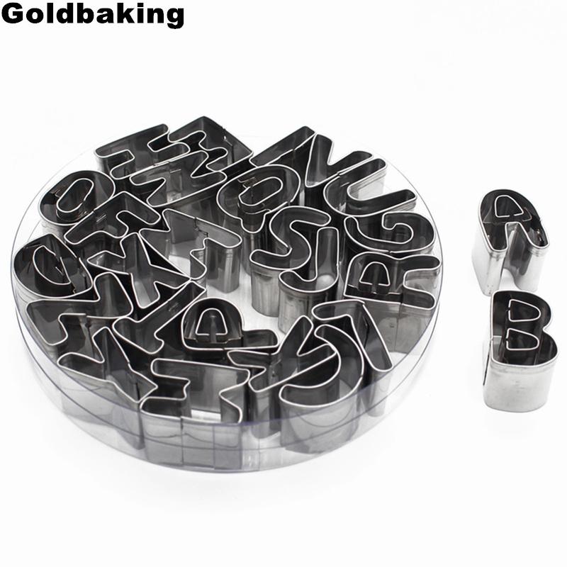 Stainless Steel Alphabet Letter Cookie Cutters Mold Biscuit Number Cutter Set Cake Decorating Moulds Fondant Cutter Set