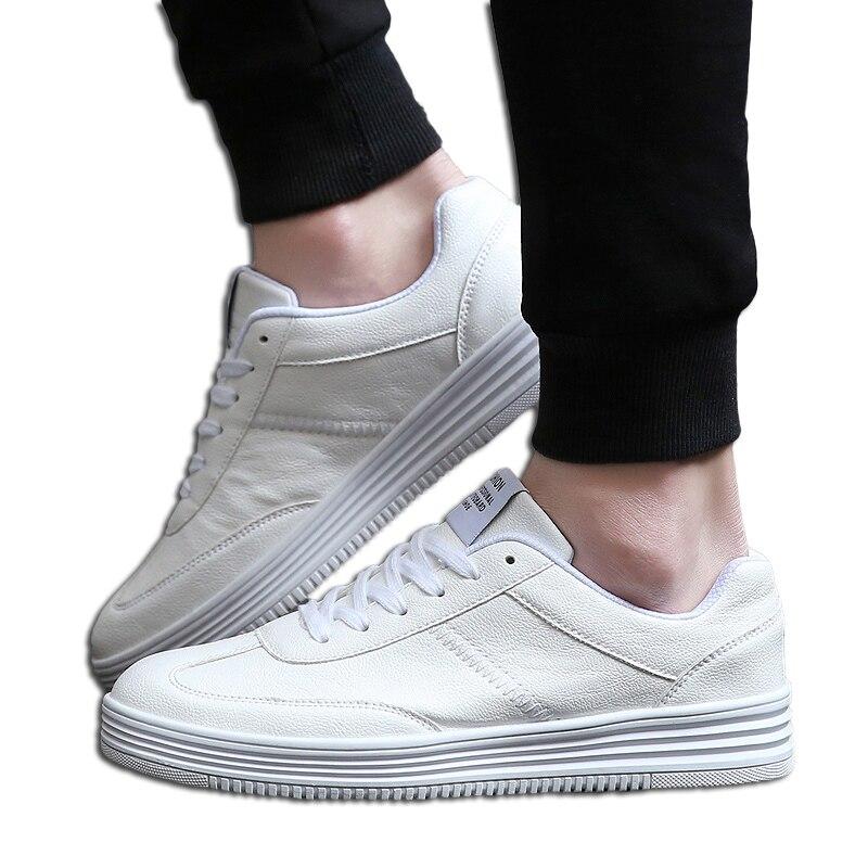 Homens Calçados Vulcanizados Sapatos Simples Dedo Do Pé Redondo Sapatos Casuais Diárias do Branco Dos Homens Sapatos Calçados Masculinos Tamanho Grande 36-46 Moda marca Walkerpeak