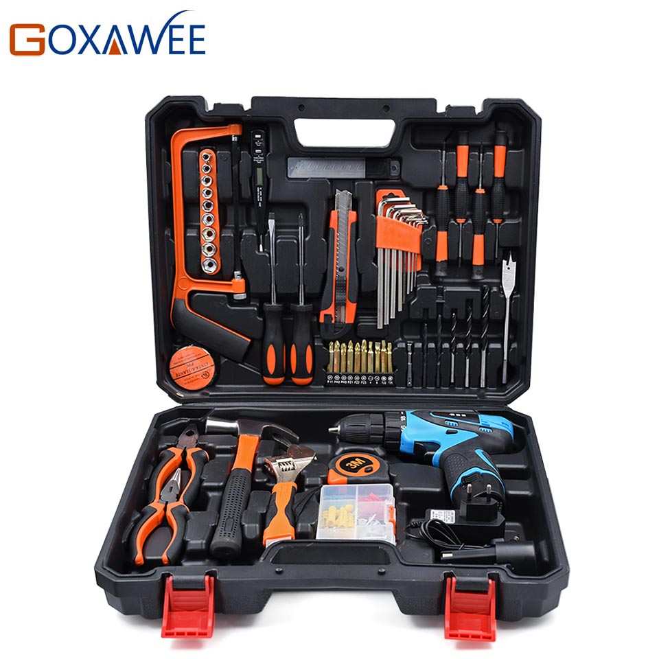 GOXAWEE 120PC General Household Hand Tool Set 12V Electric Screwdriver w/Two Battery Hammer Plier Drill Bit Wrench Accessories