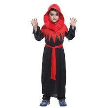 Kids Child Red Black Gothic Devil Demon Vampire Costume Robe for Boys Halloween Purim Carnival Masquerade Mardi Gras Outfit