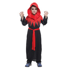 Kids Child Red Black Gothic Monk Devil Demon Vampire Costume Robe for Boys Halloween Purim Carnival Masquerade Mardi Gras Outfit