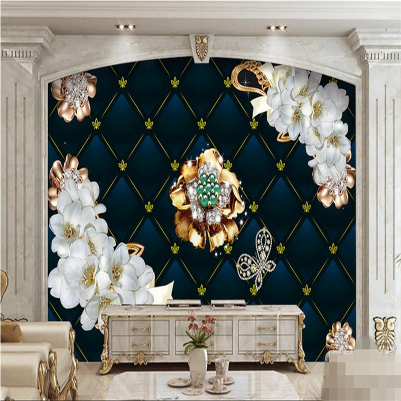 Beibehang Custom Photo Wallpaper Wall Murals Wall Stickers High-end Luxury 3D Stereo Jewelry Flowers Soft Bag Papel De Parede