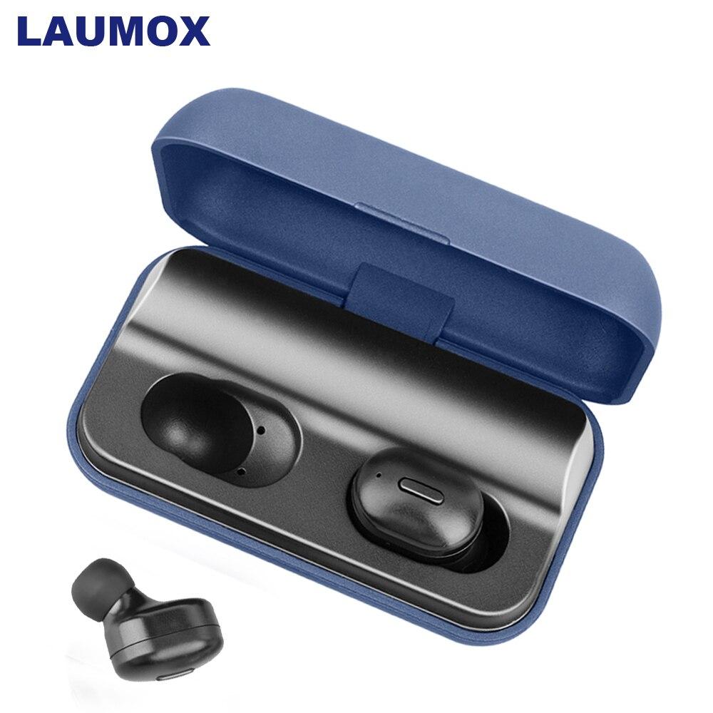 LAUMOX Bluetooth Earphone TWS T1 Pro Headset 5.0 Wireless Earbuds 3D Stereo Handsfree With Mic Earphones Waterproof Charging Box