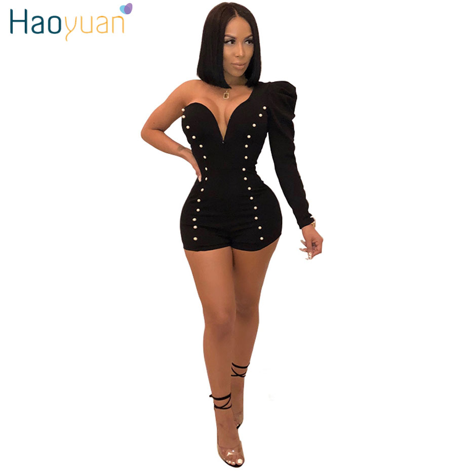 HAOYUAN Beading Sexy Party Playsuits One Shoulder Full Sleeve Bodysuit Overalls Elegant Bodycon Short Rompers Womens   Jumpsuit