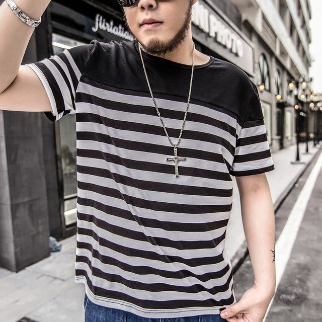 fe51ad2676a 2016 New Fashion Mens Striped T shirt Casual Business Tees High Quality Cotton  Short Sleeve O