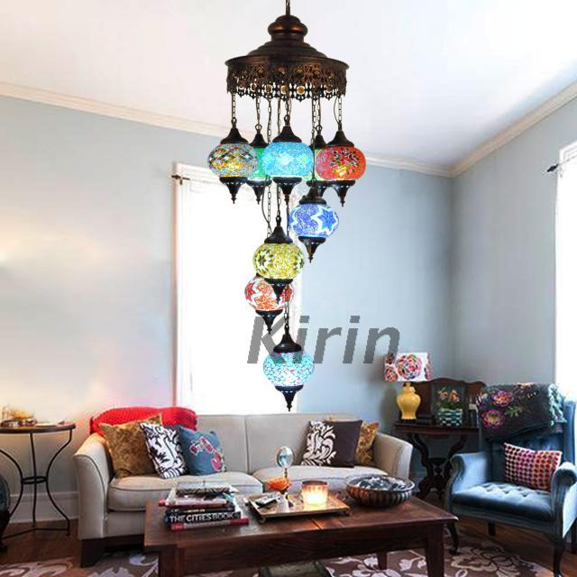 Turkish Style Master Bedroom Living Room Lamps Study Atmospheric Lobby Wrought Iron Chandelier Lighting Mediterranean Process