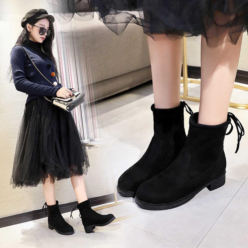 d1f143c5312 STQ 2019 Winter women boots women faux suede plush warm boots high heel  mid-calf boots platform snow boots 207