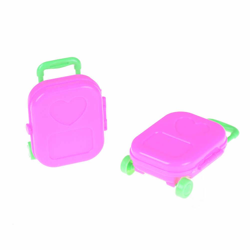 Brincar de Casinha De Plástico Rosa 3D Bagagem Mala de Viagem de Trem Para A Boneca de Brinquedo Para As Crianças 1pcs