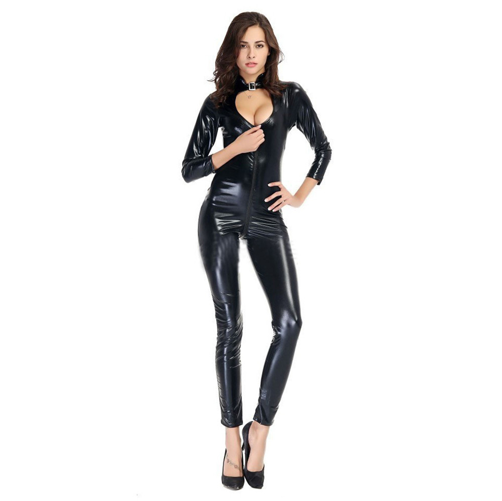 Light Tighten Hollow Out Zipper Open Crotch Plus Size Bodysuit Sexy Lingerie Porno Bodystocking Latex Catsuit Lenceria Leather