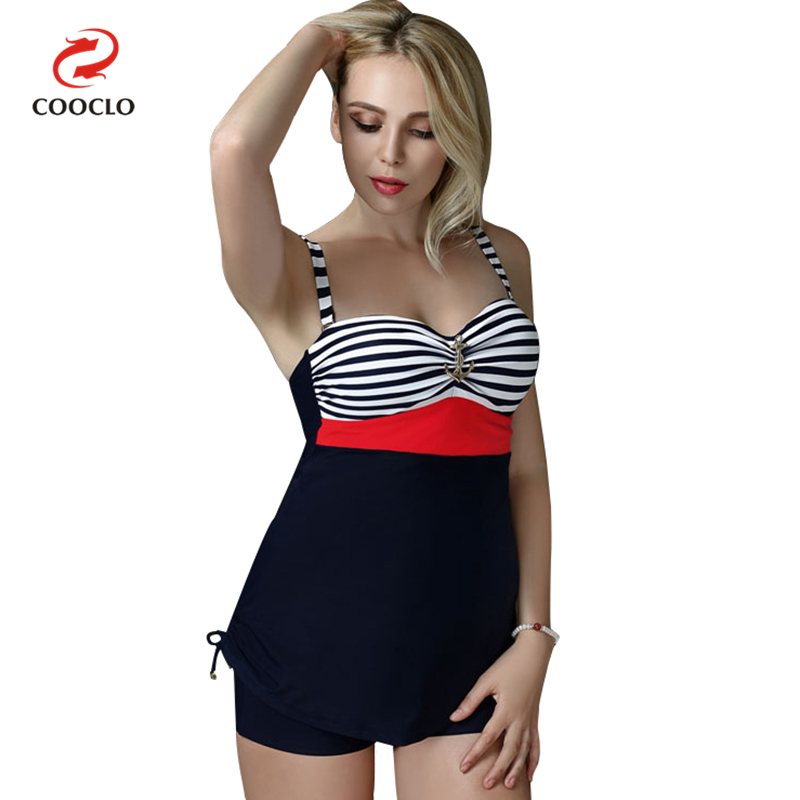 COOCLO Plus Size Swimsuit Striped Print Women Swimwear Two Pieces Tankini Vintage Bathing Suits Large Cup Swim Beach Wear 5XL