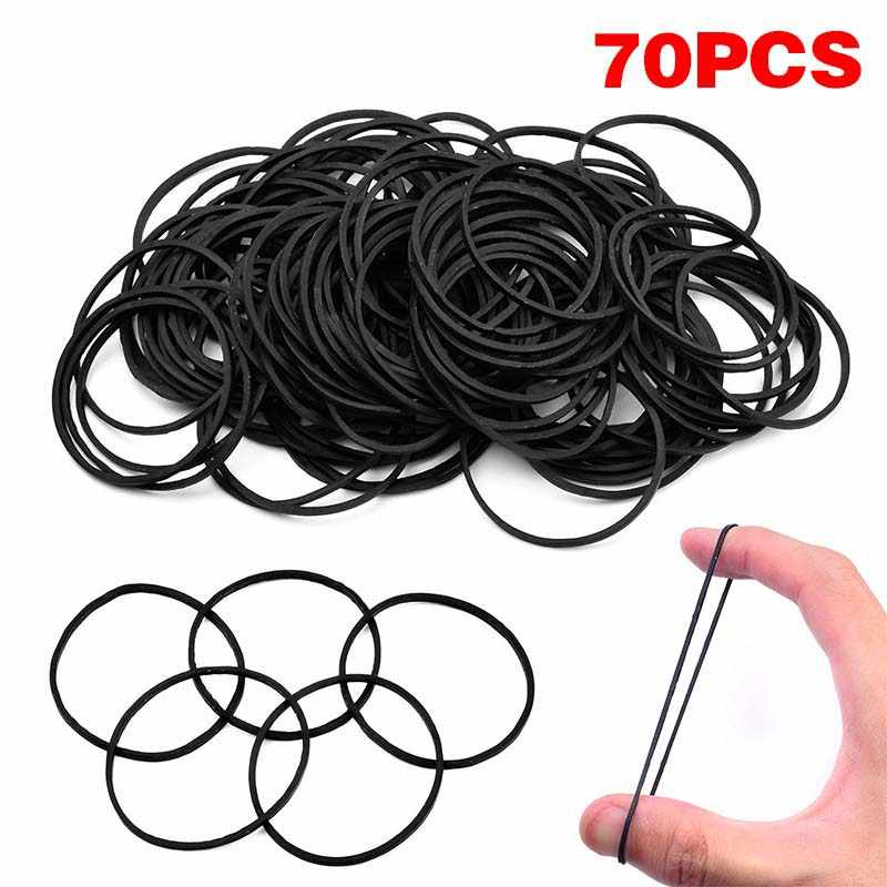 70pcs Tattoo Rubber Bands Black Rubber Pro Tattoo Accessories for Tattoo Machine Gun Supply Black Rubber Hair Snap Clips
