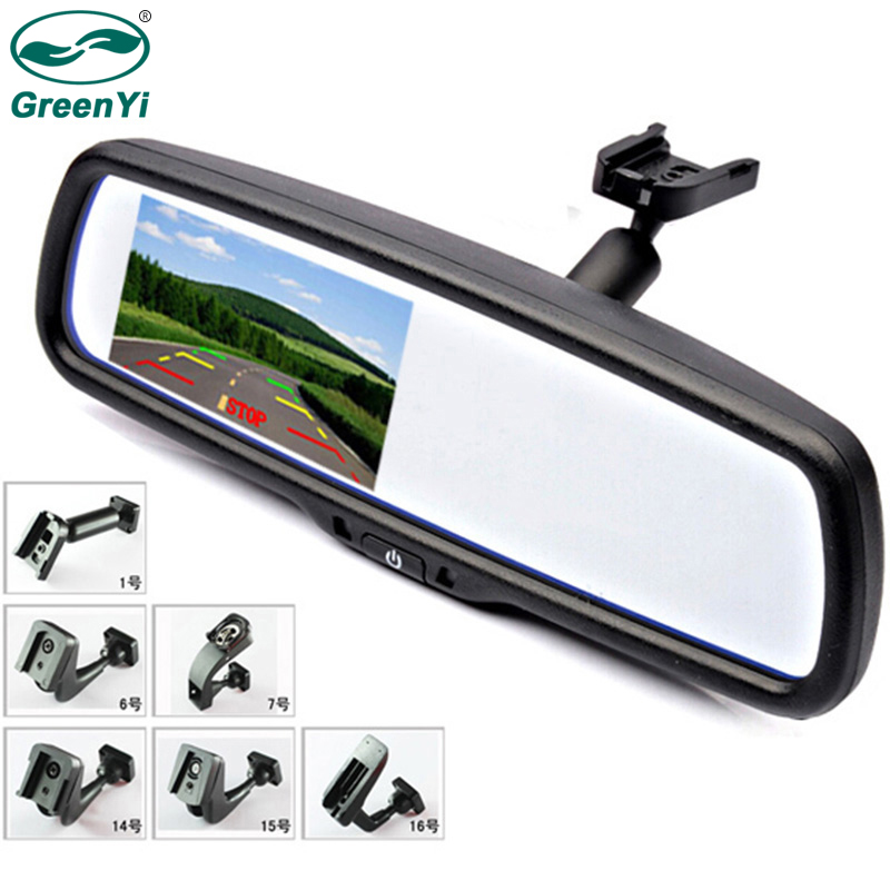 "GreenYi 4.3"" TFT LCD Color Car Rear Rearview Mirror Monitor with Special Original Bracket 2 Video Input for Parking Assitance-in Car Monitors from Automobiles & Motorcycles"