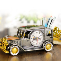 Antique Style Classic Plastic Cars Needle Electronic Upscale Clock Office Pen Holder Alarm Clock Art Decoration