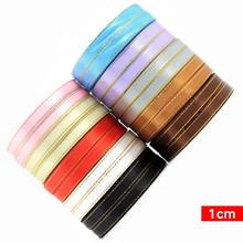 22M/Roll Gold Rimmed Ribbon Gift Wrap Clothing Headwear Accessories Satin Fabric Handmade Diy Wedding Party Supplie