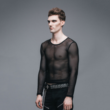 2017 New Summer Men's Long Sleeve T-shirt Men Punk Gothic Hollow Slim Fit T shirt Mens Fishnets Personality Perspective Tee Tops