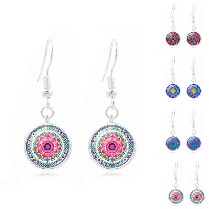 Buddhism Jewelry with Silver Color Mandala Flower Pattern Glass Cabochon Drop Dangle Long Earrings for Women Party Gift