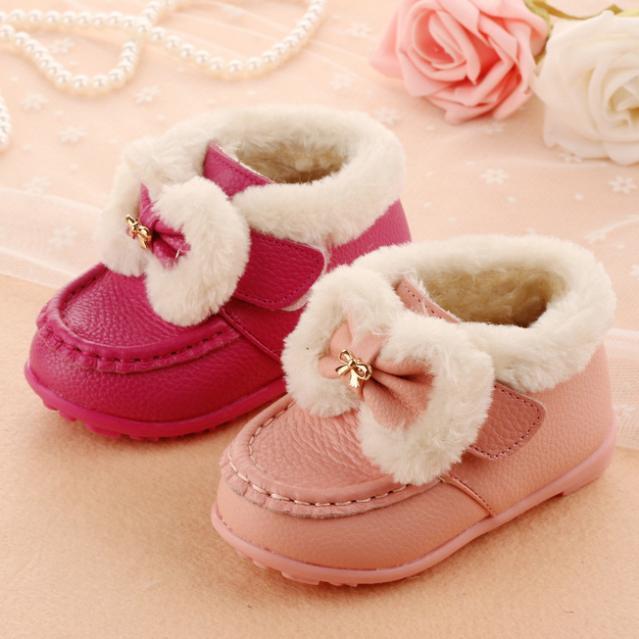 2016 Zapatos de Los Bebés Zapatos de Bebé Suaves Botas de Felpa Niños Niñas Botas de Nieve Botas de Cuero Genuino Caliente