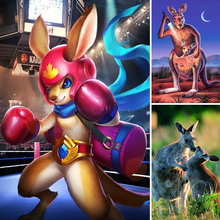 Diamond Painting Kangaroo Boxing Full Square 5d Diy Diamant Cartoon Animal Embroidery Baby Home Decor Gift X54