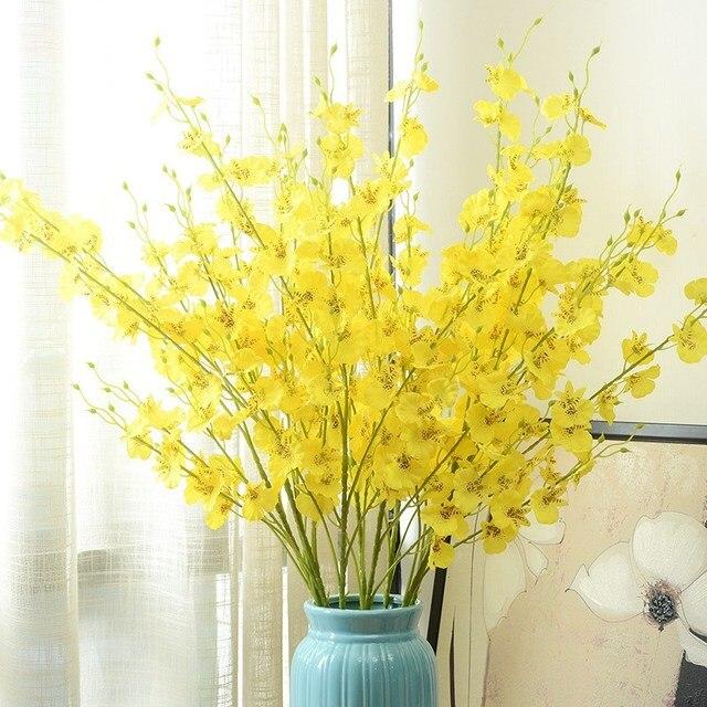 1pcs 90cm European Rural Yellow Artificial Dance Orchid Silk Flower