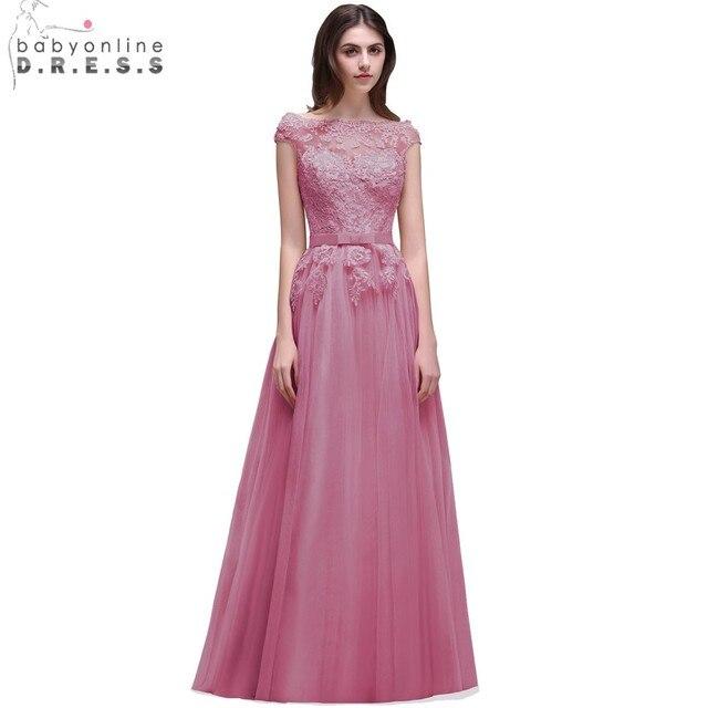 Babyonline Pretty Burgundy Lace Applique Evening Dresses 2019 Off The Shoulder Long Evening Party Dress vestido de festa