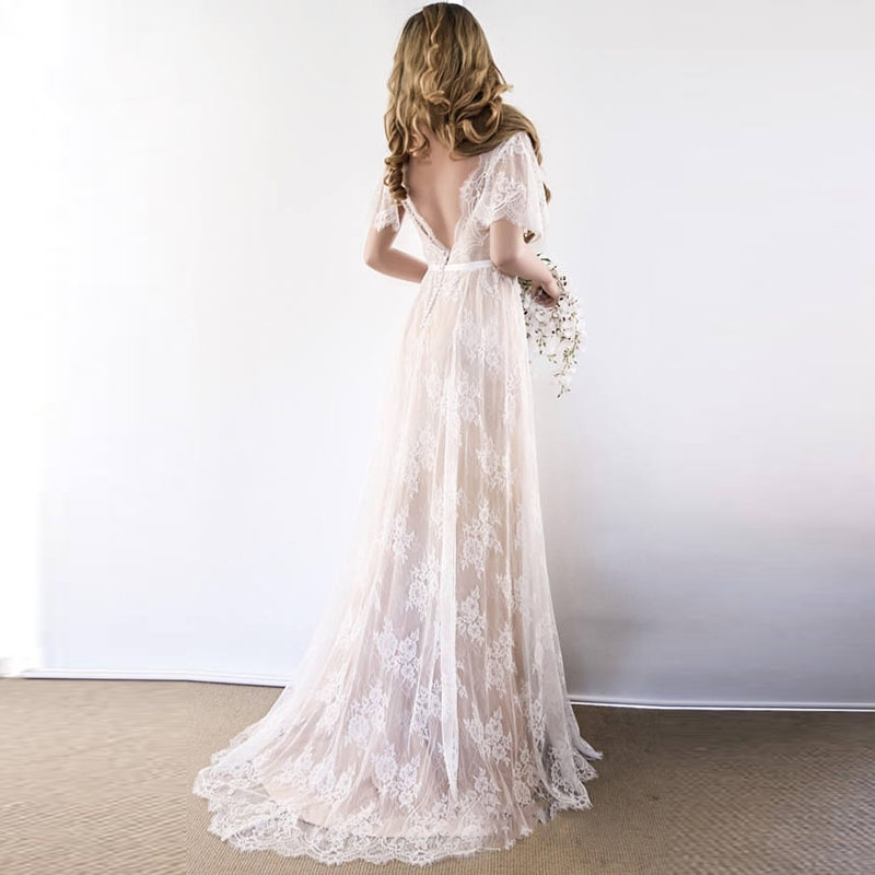 New Boho Wedding Dress 2020 V Neck Cap Sleeve Lace Beach Wedding Gown Cheap Backless Custom Made Bride Dresses Robe De Mariage