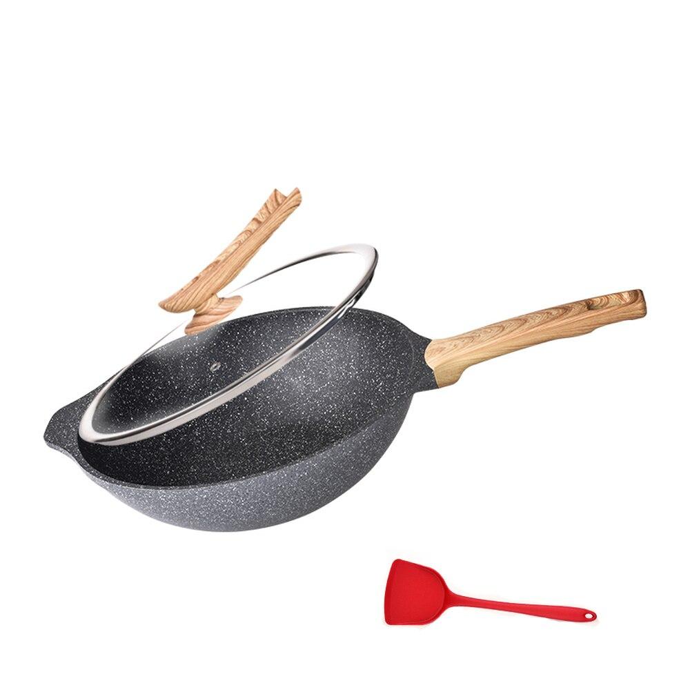 Kitchen Wok Non-stick Pan No-smoke Wok Cooking Pot Household Pan Induction Cooker Gas Stove Wx9141140