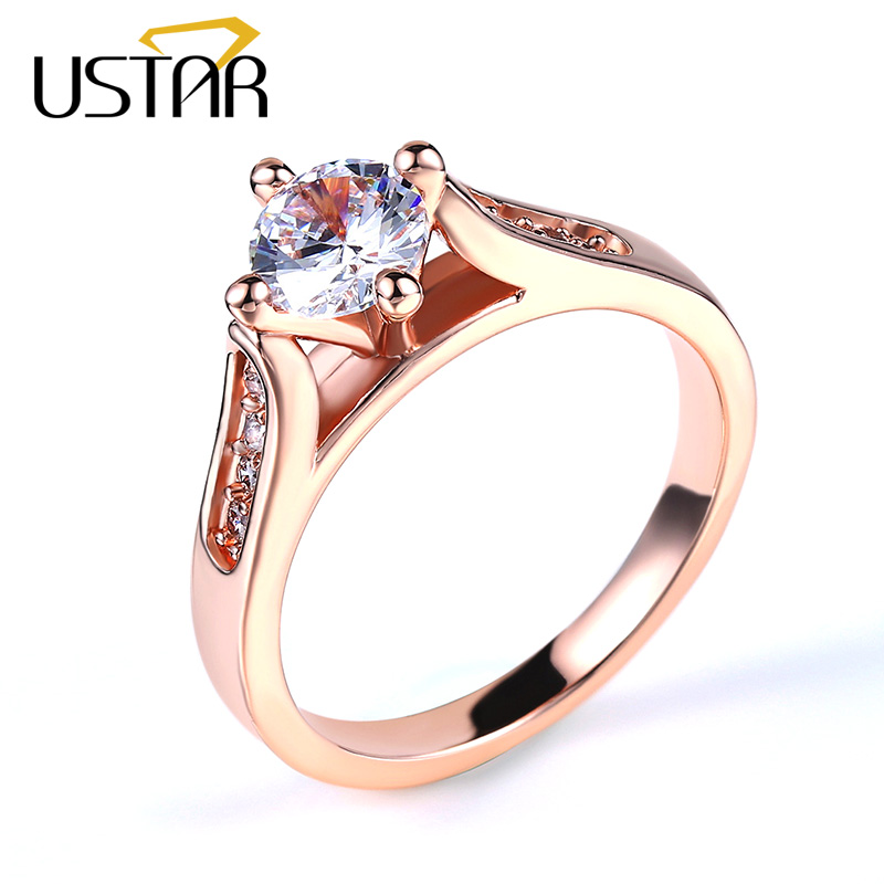 USTAR Չորս ատամ Setting Ավստրիա ircիրկոն Cirstal Wedding Wedding Rings for Rose