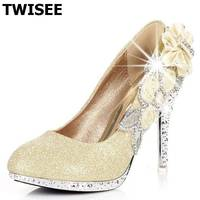 Spring Autumn Women Fashion Red Bottom Thin High Heels Wedding Party Sexy Shoes Pumps Fake Crystal