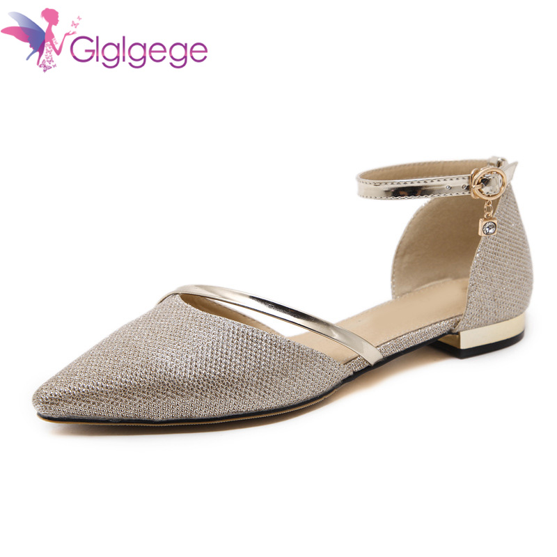 Glglgege New 2018 Spring Summer Products Pointed Top Flat Shoes Comfortable Wild Silver Gold Metal Decoration Shoes For WomenGlglgege New 2018 Spring Summer Products Pointed Top Flat Shoes Comfortable Wild Silver Gold Metal Decoration Shoes For Women